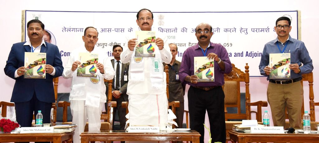 Vice President M. Venkaiah Naidu releases a publication at the Central Research Institute for Dryland Agriculture (CRIDA), in Hyderabad on July 03, 2018. Also seen Telangana Deputy Chief ... - Mohammad Mahmood Ali and M. Venkaiah Naidu