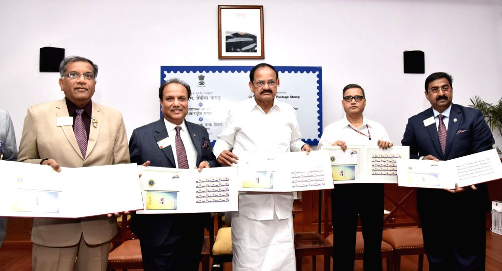 Vice President M Venkaiah Naidu releases the Commemorative Postage Stamp on the International Association of Lions Clubs in New Delhi on May 25, 2018. - M Venkaiah Naidu