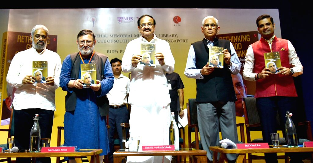 Vice President M. Venkaiah Naidu releases the book 'Rethinking Good Governance' authored by the former CAG Vinod Rai, in New Delhi on Sep 13, 2019. Also seen Institute of South Asian ... - M. Venkaiah Naidu and Vinod Rai