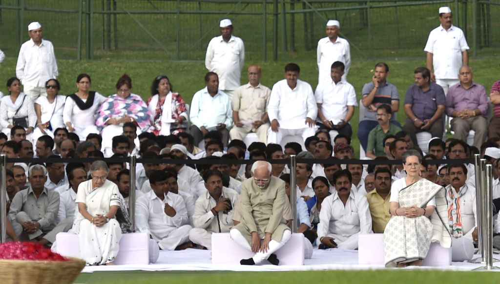 Vice-President Mohammad Hamid Ansari, Congress chief Sonia Gandhi and former Kerala Governor Sheila Dikshit pay tribute to Jawaharlal Nehru on his death anniversary in New Delhi, on May ... - Sonia Gandhi and Sheila Dikshit