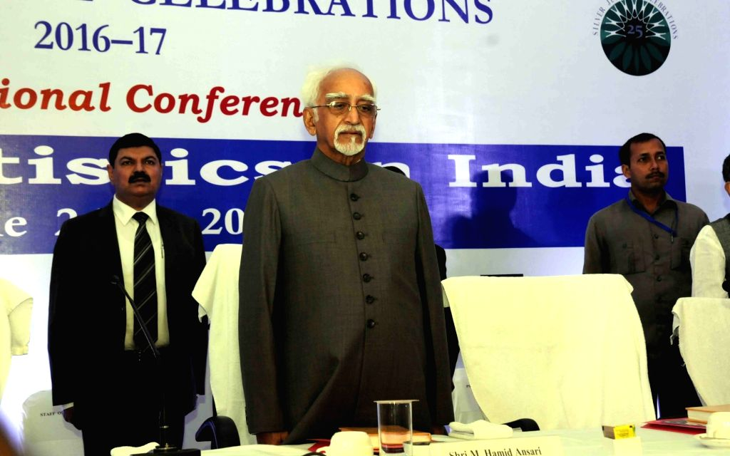 Vice-President Mohammad Hamid Ansari during an international conference on 'Social Statistics in India' in Patna on June 24, 2016.