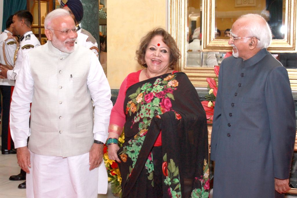 Vice President Mohammad Hamid Ansari with his wife Salma Ansari and Prime Minister Narendra Modi during the 'At Home' function organised on the occasion of 70th Independence Day at ... - Narendra Modi
