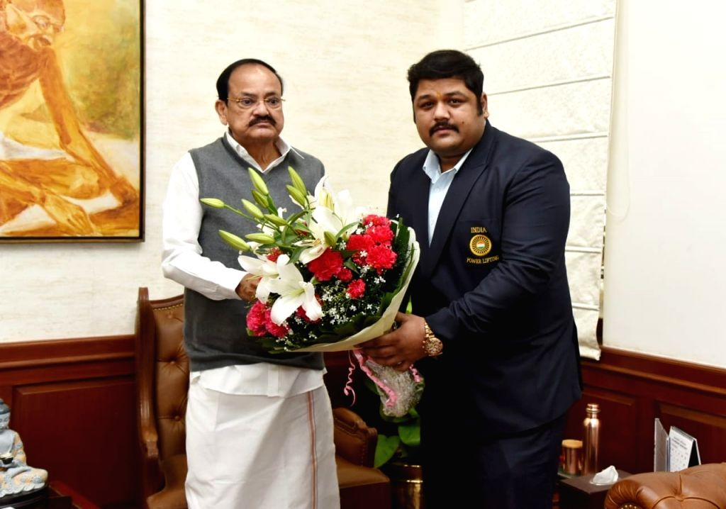 Vice President of India Venkiah Naidu on Friday congratulated powerlifter Gaurav Sharma on winning European Championship gold. - Venkiah Naidu and Gaurav Sharma