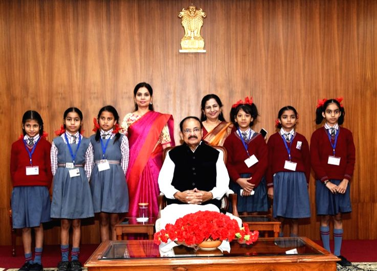 Vice President, Shri M. Venkaiah Naidu meets students from various schools from across the National Capital Region and other neighboring states, on the occasion of Children???s Day, in New ... - M. Venkaiah Naidu