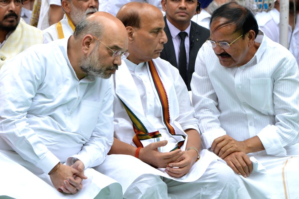 Vice President Venkaiah Naidu, Defense Ministers Rajnath Singh and Amit Shah attend the last rites of former Finance Minister Arun Jaitley at Nigambodh Ghat in New Delhi on Aug 25, 2019. - Arun Jaitley, Ministers Rajnath Singh, Amit Shah and Venkaiah Naidu