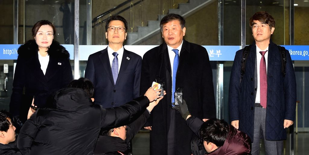 Vice Sports Minister Roh Tae-kang (2nd from R) responds to reporters before leaving Seoul on Dec. 14, 2018, for the North Korean border city of Kaesong for inter-Korean sports talks. The two ... - Roh Tae