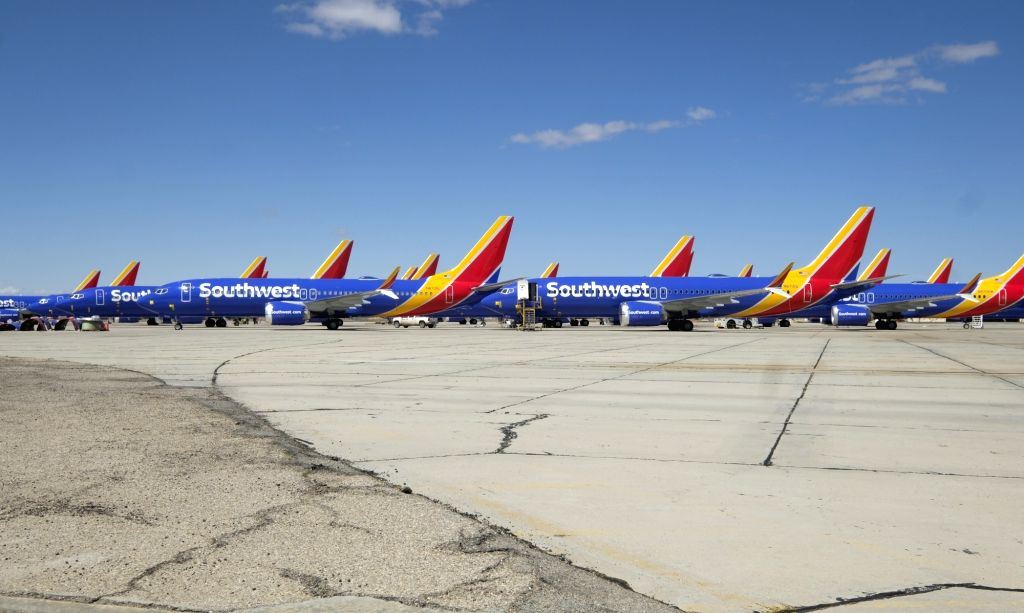 VICTORVILLE (U.S.), March 28, 2019 (Xinhua) -- Photo taken on March 27, 2019 shows Southwest Airlines Boeing 737 Max aircraft parked at the Southern California Logistics Airport, also known as Victorville Airport, in Victorville, California, the Unit