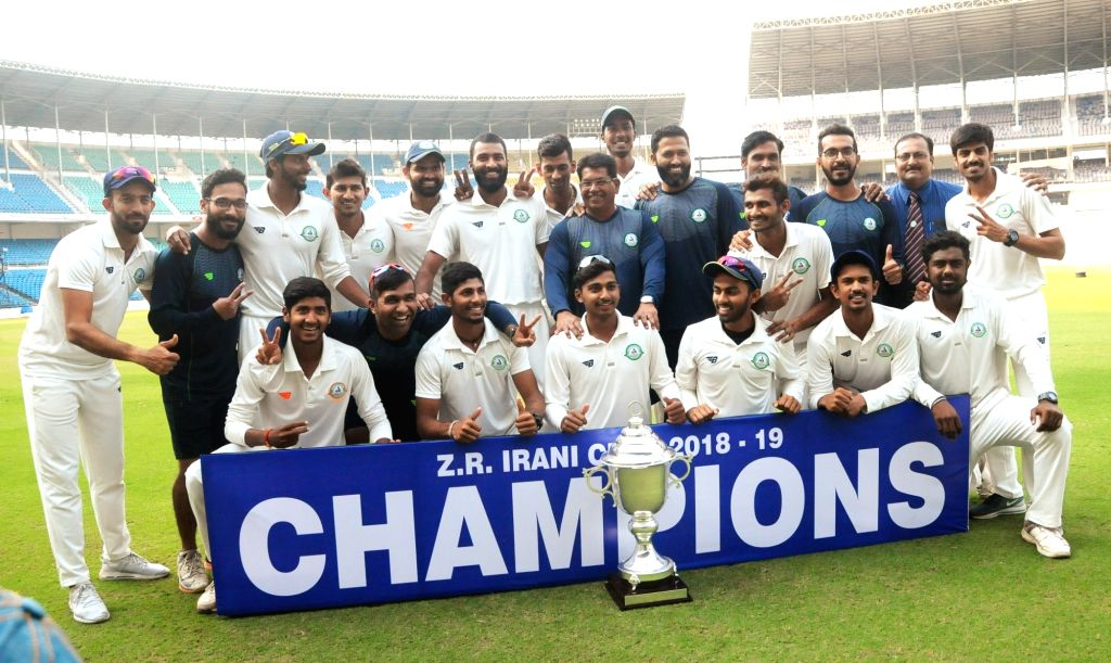Vidarbha players celebrate after winning Irani Cup against Rest of India (RoI) at the Vidarbha Cricket Association Stadium  in Jamtha, Nagpur on Feb 16, 2019.