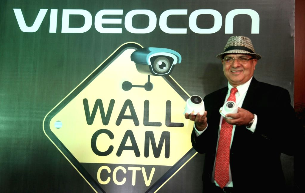 Videocon Telecom Chief Executive Officer Arvind Bali launches Wall CCTV cam in New Delhi on July 4, 2017.