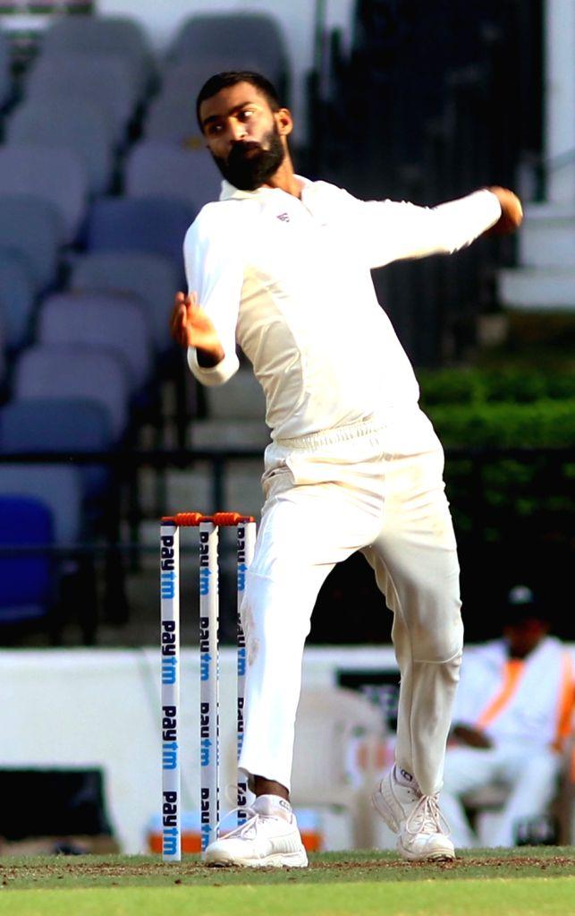 Vidhraba cricketer Akshay Karnewar in action on the third day of Irani Cup match between Rest of India and Vidarbha at Vidarbha Cricket Association Stadium, in Jamtha, Nagpur on Feb 14, 2019.