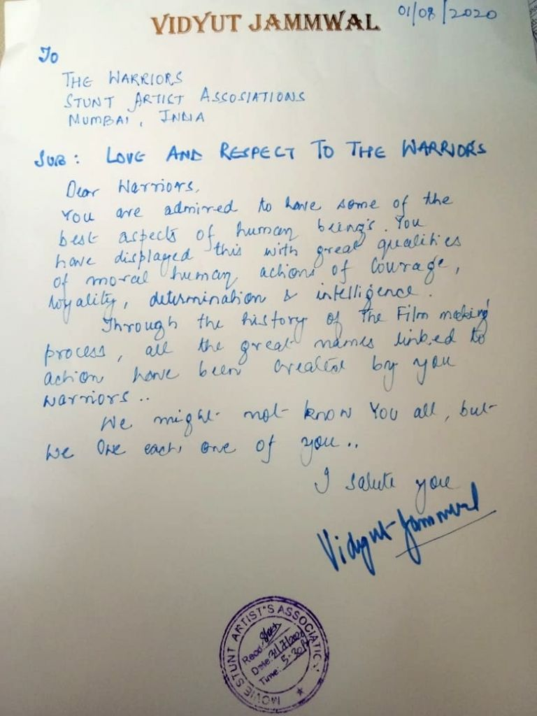 Vidyut Jammwal offers financial help to stuntmen.