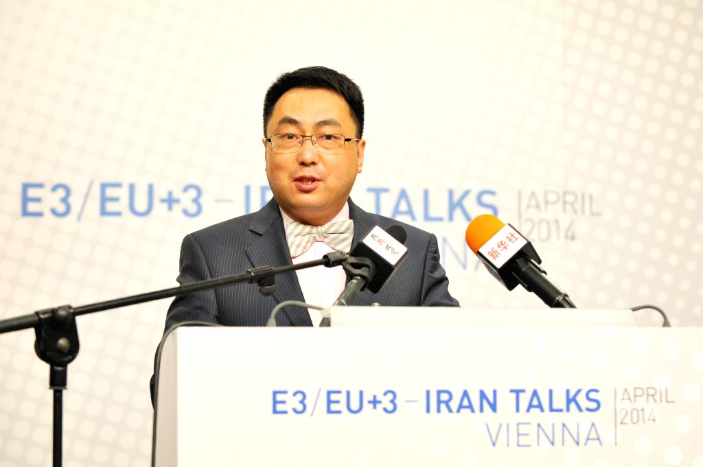 Wang Qun, head of Chinese delegation, attends a press conference after the third round discussion on Iran's nuclear program in Vienna, Austria, April 9, 2014. Iran ..
