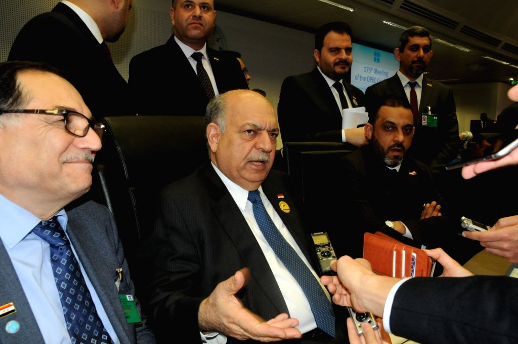 VIENNA, Dec. 7, 2018 - Iraq's Oil Minister Thamir al-Ghadhban (C, front) attends the opening ceremony of a meeting of the Organisation of the Petroleum Exporting Countries (OPEC) in Vienna, Austria, ... - Thamir