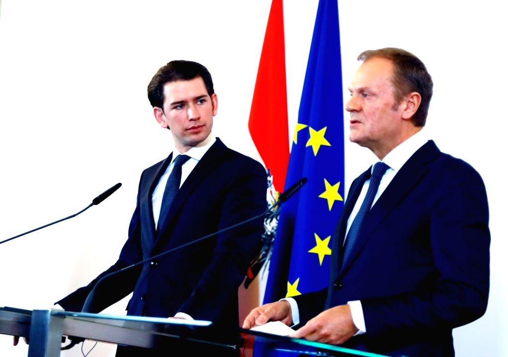 VIENNA, Feb. 13, 2018 - Austrian Chancellor Sebastian Kurz (L) and visiting European Council President Donald Tusk attend a press conference in Vienna, Austria, on Feb. 13, 2018. European Council ...