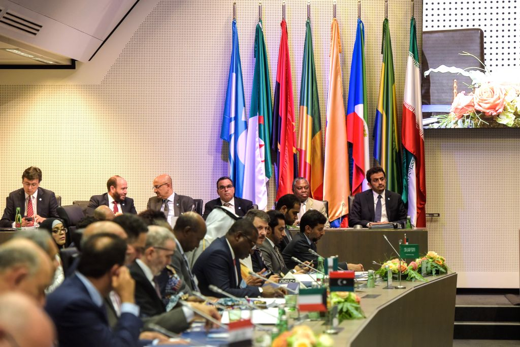 VIENNA, July 1, 2019 (Xinhua) -- A meeting of the Organization of the Petroleum Exporting Countries (OPEC) is held in Vienna, Austria, July 1, 2019. The OPEC and non-OPEC oil producers agreed here on Monday to extend the output cut by nine months. (X