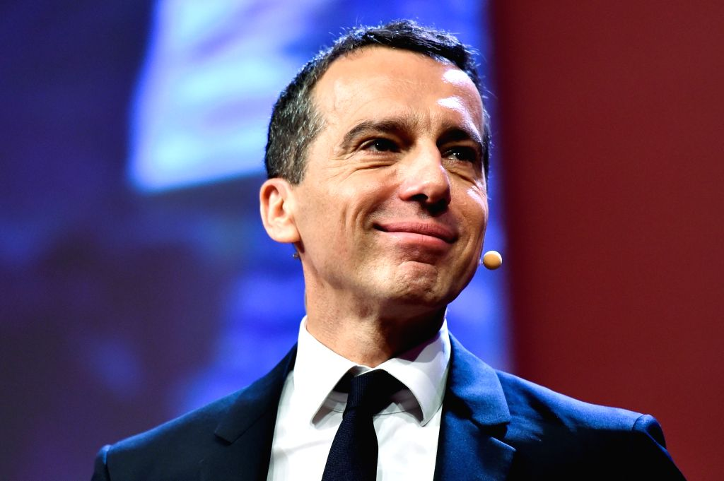 VIENNA, June 25, 2016 - Austrian Chancellor Christian Kern delivers a speech during the party convention of the Social Democratic Party (SPO) in Vienna, Austria, June 25, 2016. Kern will be duly ...