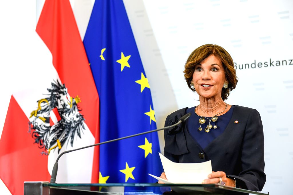 VIENNA, June 3, 2019 - Brigitte Bierlein makes a statement in Vienna, Austria, June 3, 2019. Brigitte Bierlein, the 69-year-old former head of Austria's top court, has officially taken office as the ...