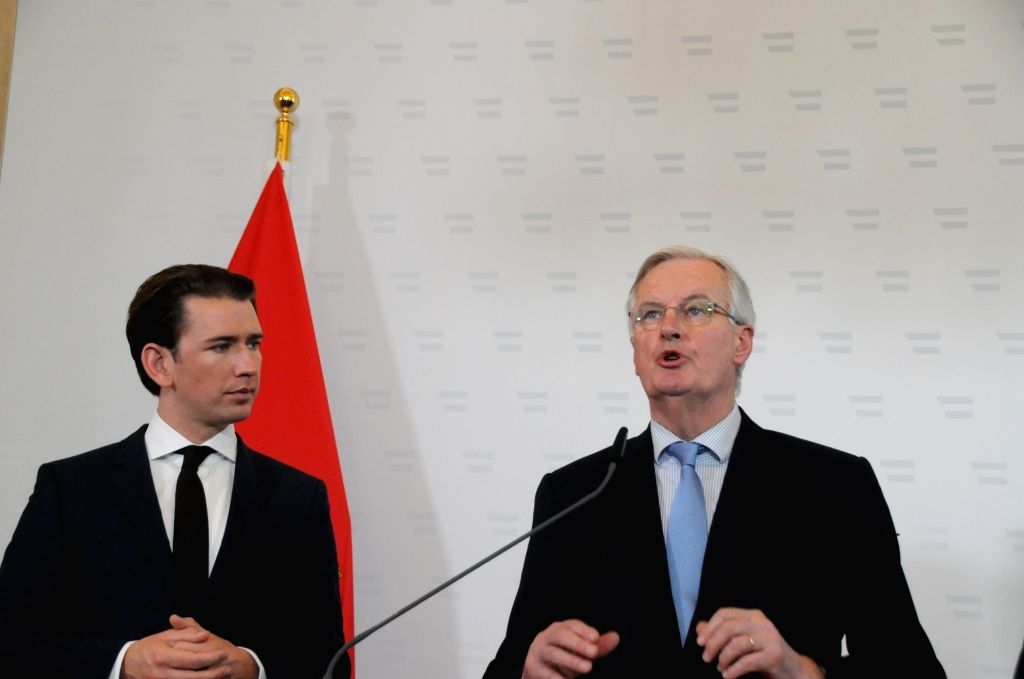 VIENNA, March 1, 2019 - Austrian Chancellor Sebastian Kurz (L) and Michel Barnier, EU chief negotiator for Brexit, attend a news conference in Vienna, Austria, Feb. 28, 2019. Austrian Chancellor ...
