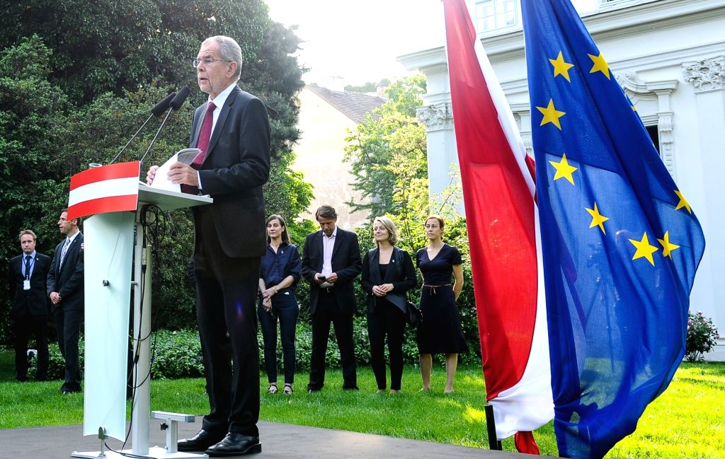 VIENNA, May 23, 2016 - Alexander Van der Bellen, winner of Austria's presidential election, speaks to press in Vienna, Austria, May 23, 2016. Alexander Van der Bellen, an independent candidate but ... - Wolfgang Sobotka