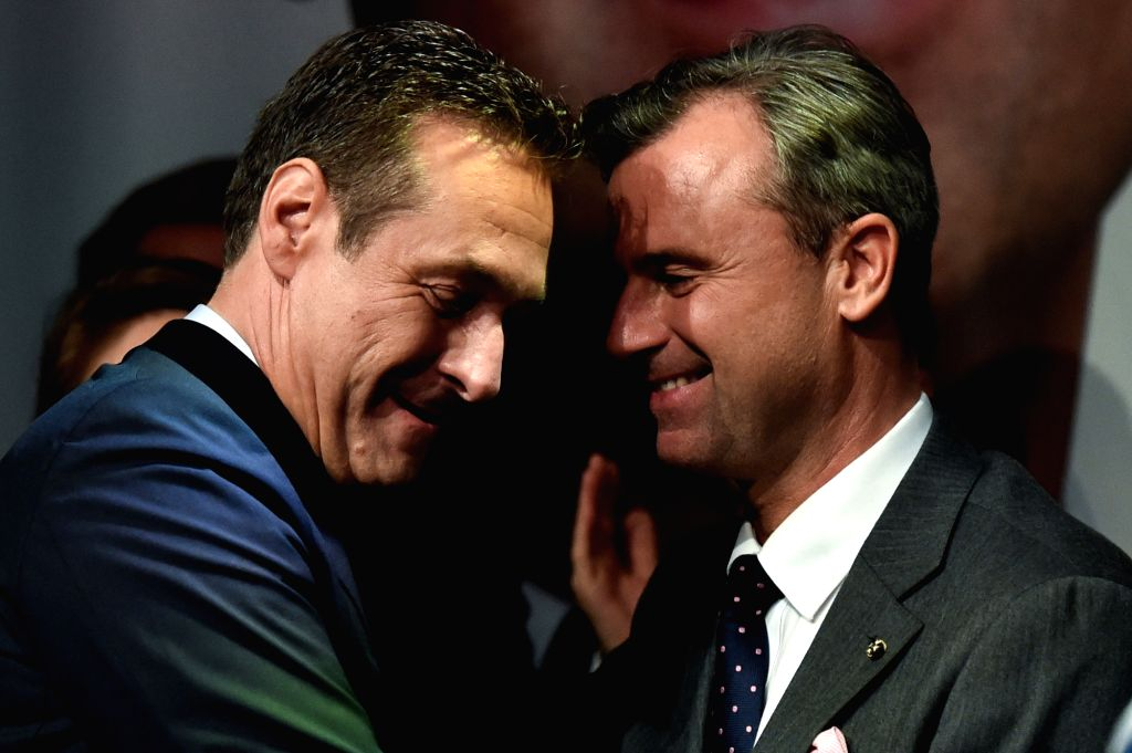 VIENNA, May 23, 2016 - Heinz-Christian Strache (L), head of Austria's Freedom Party, congratulates Norbert Hofer, candidate for Austria's Presidency of Austria's Freedom Party, during an after ...