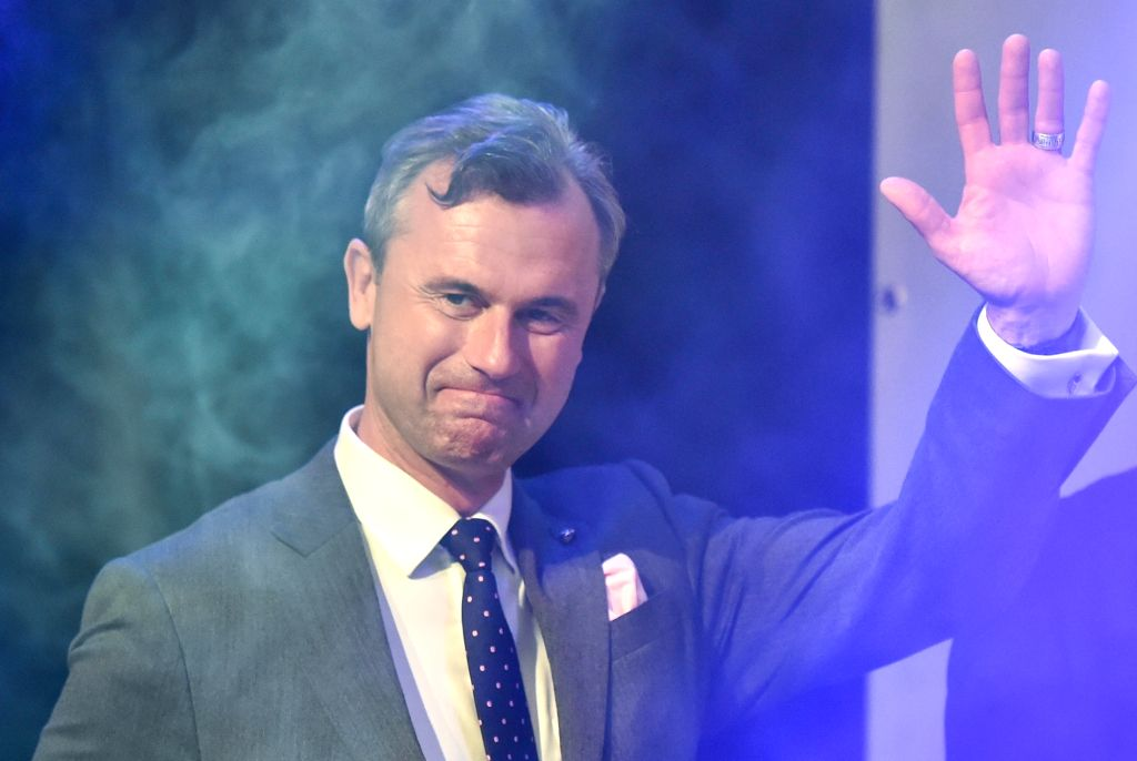 VIENNA, May 23, 2016 - Norbert Hofer, candidate for Austria's Presidency of Austria's Freedom Party, attends an after presidential election party in Vienna, Austria, May 22, 2016. Mail votes are to ...