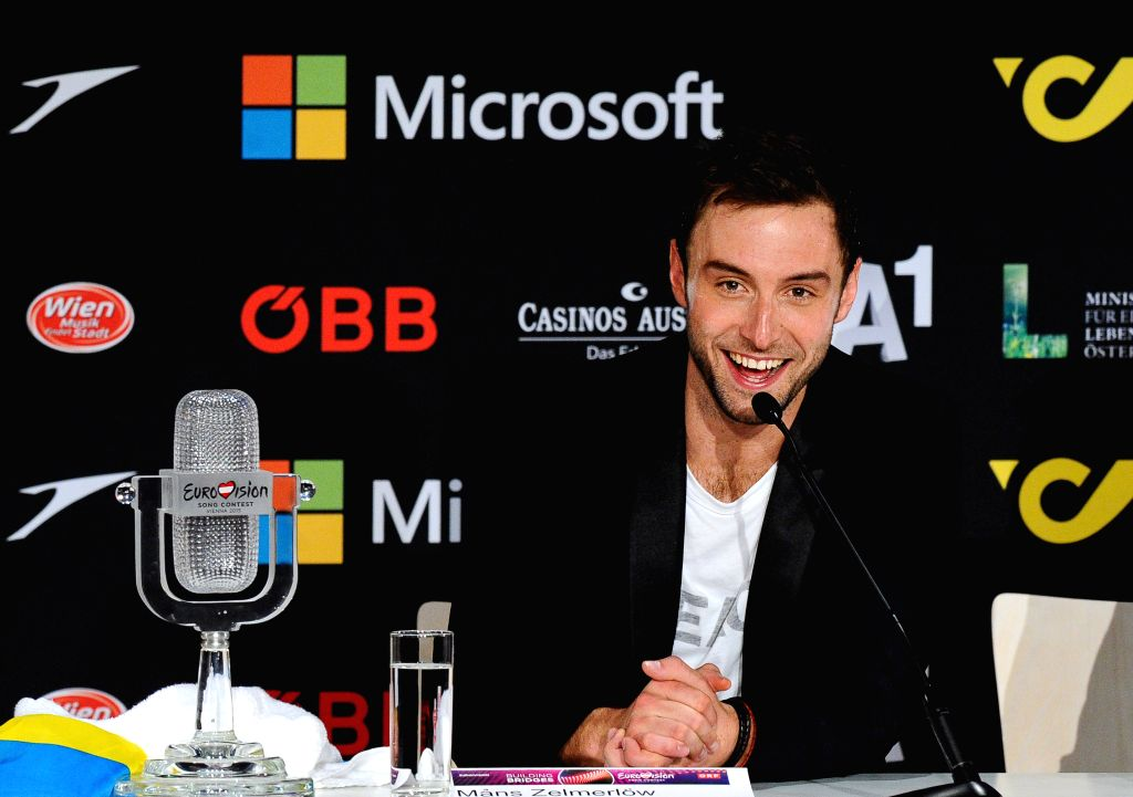 Swedish singer Mans Zelmerlow takes part in a press conference after winning the Eurovision Song Contest final in Vienna, Austria, May 24, 2015. Swedish singer Mans ...
