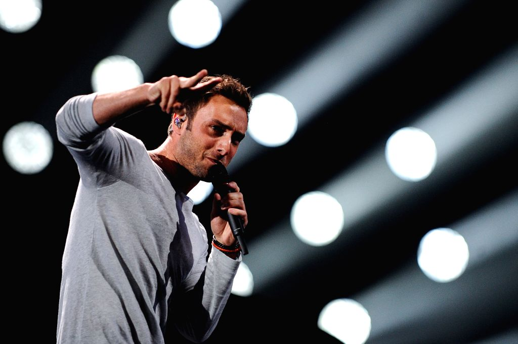 Swedish singer Mans Zelmerlow performs during the rehearsal of the semifinal of the Eurovision Song Contest in Vienna, Austria, May 20, 2015. Swedish singer Mans ...