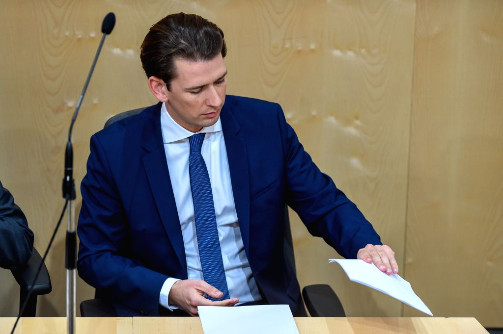 VIENNA, May 28, 2019 - Austrian Chancellor Sebastian Kurz attends a session of  Austria's lower house of parliament in Vienna, Austria, May 27, 2019. Lawmakers in Austria's lower house of parliament, ...