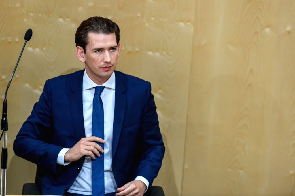 VIENNA, May 28, 2019 - Austrian Chancellor Sebastian Kurz speaks at a session of  Austria's lower house of parliament in Vienna, Austria, May 27, 2019. Lawmakers in Austria's lower house of ...