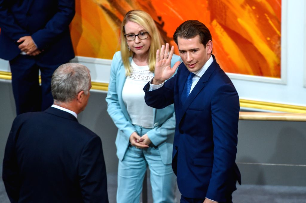 VIENNA, May 28, 2019 - Austrian Chancellor Sebastian Kurz leaves a session of  Austria's lower house of parliament in Vienna, Austria, May 27, 2019. Lawmakers in Austria's lower house of parliament, ...