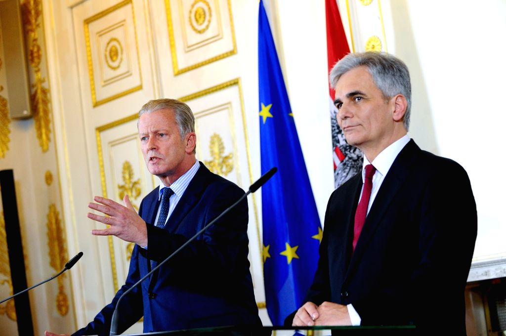 VIENNA, May 9, 2016 - File photo taken on March 13, 2015 shows Austrian Chancellor Werner Faymann (R) and Austrian Vice Chancellor Reinhold Mitterlehner attending a press conference on the tax ...