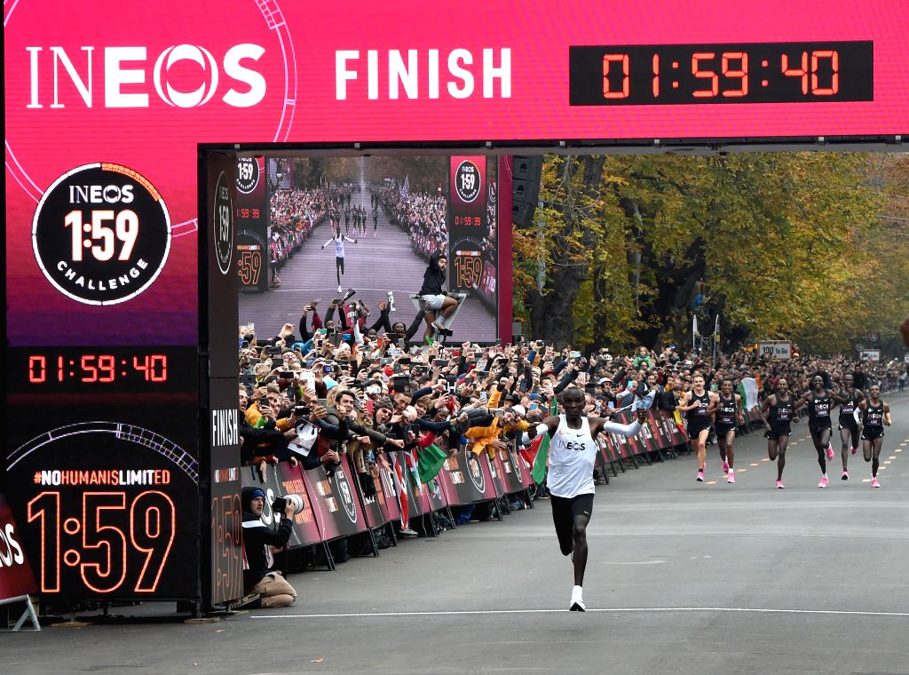 "VIENNA, Oct. 12, 2019 - Kenya's Eliud Kipchoge crosses the line during the match of ""1:59 challenge"" in Vienna, Austria, on Oct. 12, 2019. Eliud Kipchoge completed the ""1:59 ..."