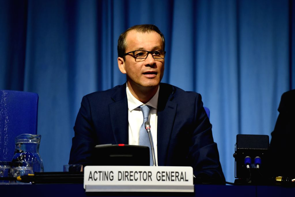 VIENNA, Oct. 7, 2019 - Cornel Feruta, acting director general of the International Atomic Energy Agency (IAEA), gives a speech at the International Conference on Climate Change and the Role of ...