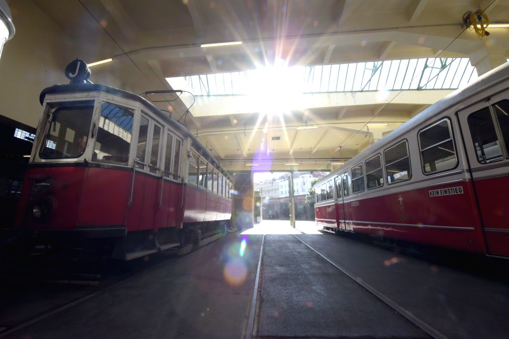 VIENNA, Sept. 11, 2019 - Trams are displayed at the Remise-Transport Museum of Vienna Lines in Vienna, Austria, on Sept. 11, 2019. Created in 2014, the Remise-Transport Museum of Vienna Lines shows ...