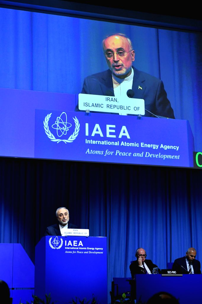 VIENNA, Sept. 18, 2018 - Head of the Atomic Energy Organization of Iran (AEOI) Ali Akbar Salehi addresses the 62nd General Conference of the International Atomic Energy Agency (IAEA) in Vienna, ...