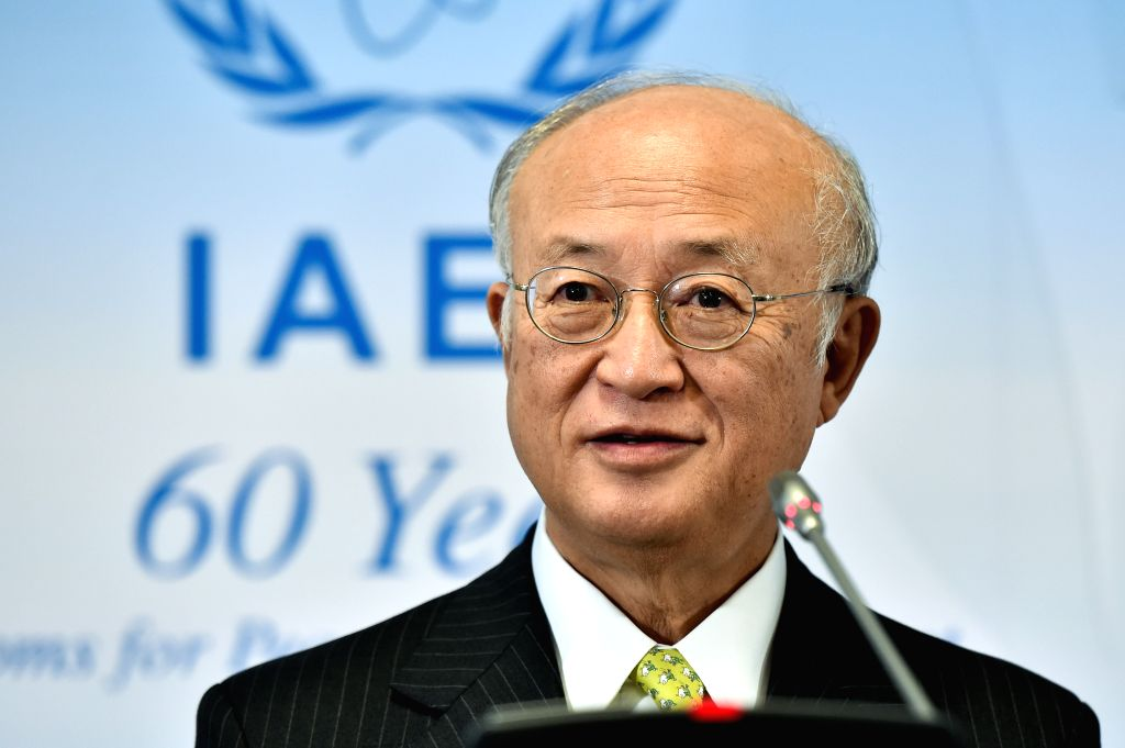 VIENNA, Sept. 19, 2016 - International Atomic Energy Agency's (IAEA) Director-General Yukiya Amano attends a press conference after an IAEA board of governors meeting at the IAEA headquarters in ...
