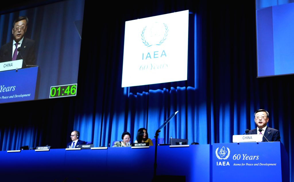 VIENNA, Sept. 19, 2017 - Tang Dengjie (1st R), head of the Chinese delegation to the UN atomic agency IAEA's 61th General Conference, speaks during the IAEA's 61th General Conference in Vienna, ...