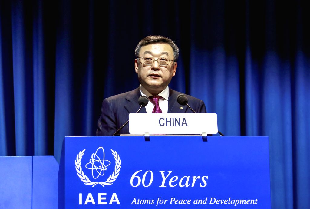 VIENNA, Sept. 19, 2017 - Tang Dengjie, head of the Chinese delegation to the UN atomic agency IAEA's 61th General Conference, speaks during the IAEA's 61th General Conference in Vienna, Austria, ...