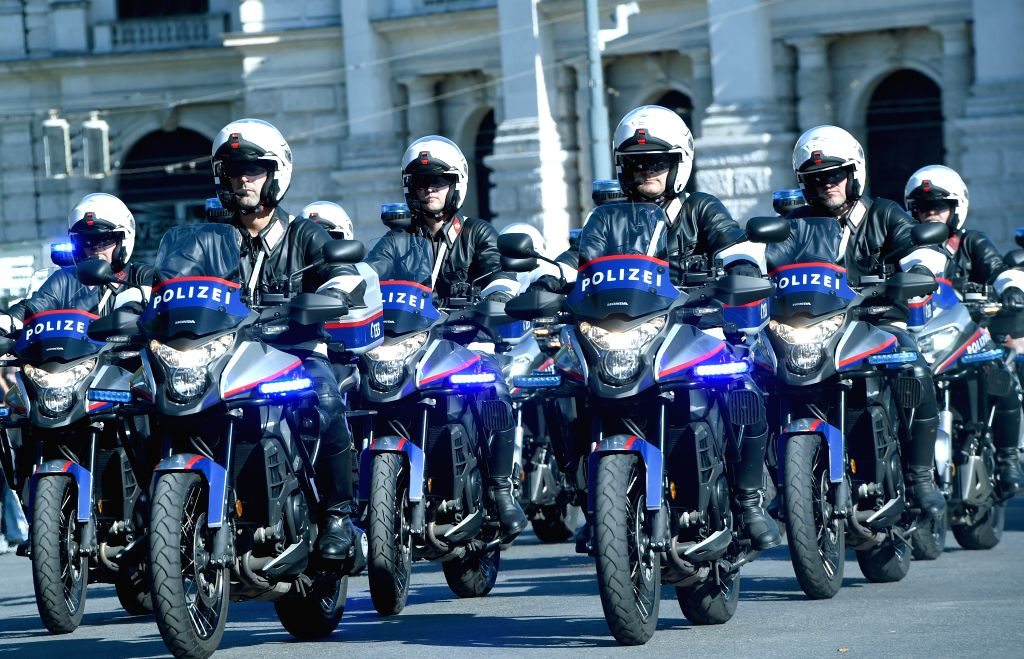 VIENNA, Sept. 21, 2019 - The motorcycle police team take part in the parade celebrating the Vienna Police Day in Vienna, Austria, Sept. 21, 2019. A grand parade was held in Vienna on Saturday to ...