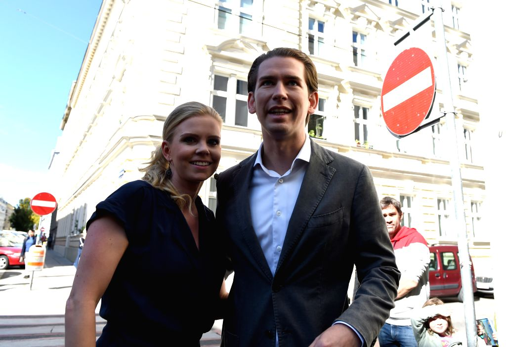 VIENNA, Sept. 29, 2019 - Sebastian Kurz (R, front), chairman of the Austrian People's Party, is seen in front of a polling station in Vienna, Austria, Sept. 29, 2019. Polling booths opened in Austria ...