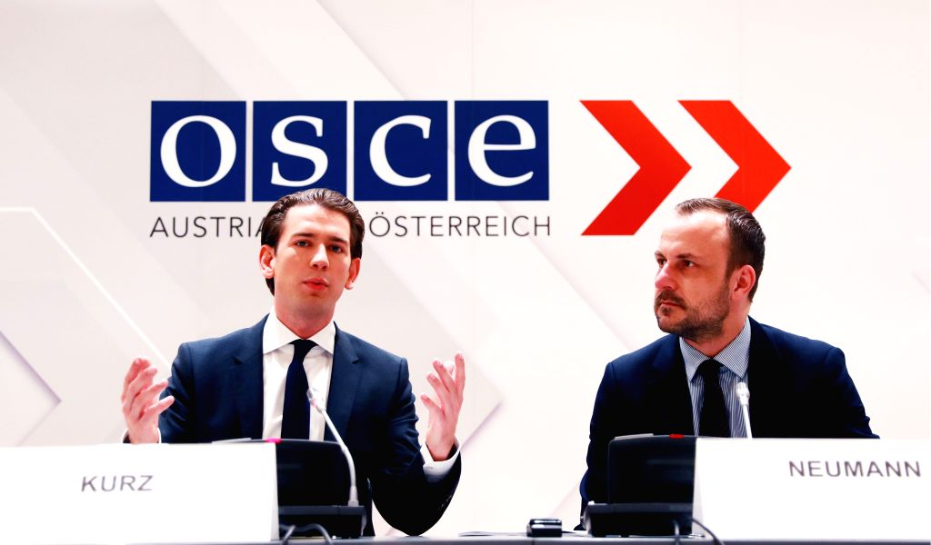 VIENNA, Sept. 30, 2017 - Austrian foreign affairs minister and current OSCE chair Sebastian Kurz (L) and German anti-terrorism expert Peter Neumann attend a press conference of the Organization for ...
