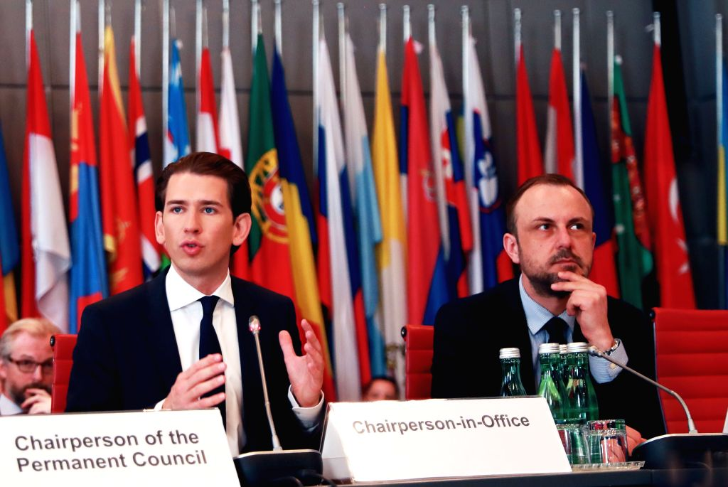 VIENNA, Sept. 30, 2017 - Austrian foreign affairs minister and current OSCE chair Sebastian Kurz (L) and German anti-terrorism expert Peter Neumann attend a meeting of the Organization for Security ...