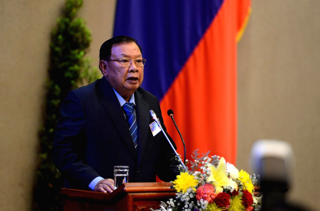 VIENTIANE, April 20, 2016 - Bounnhang Vorachit addresses the first session of the eighth legislature of the National Assembly of Laos in Vientiane, capital of Laos, April 20, 2016. The National ...