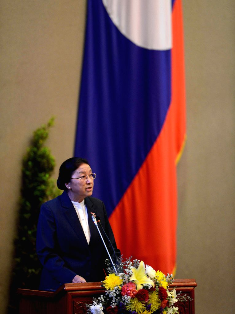 VIENTIANE, April 20, 2016 - Pany Yathotu addresses the first session of the eighth legislature of the National Assembly of Laos in Vientiane, capital of Laos, April 20, 2016. The National Assembly of ...