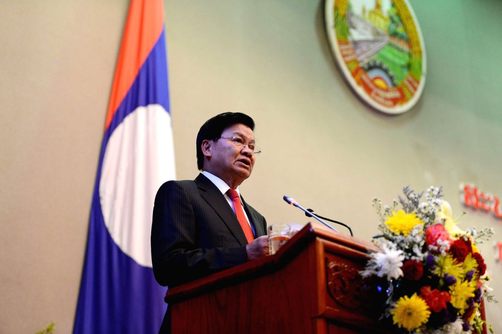 VIENTIANE, April 20, 2016 - Thongloun Sisoulith addresses the first session of the eighth legislature of the National Assembly of Laos in Vientiane, capital of Laos, April 20, 2016. The National ...