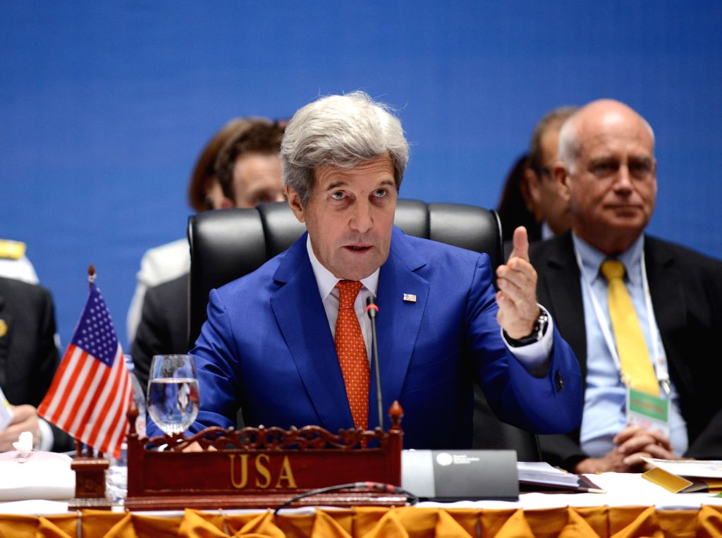 VIENTIANE, July 25, 2016 - U.S. Secretary of State John Kerry addresses the 9th Lower Mekong Initiative Ministerial Meeting in Vientiane, Laos, July 25, 2016. Lao Foreign Minister Saleumxay Kommasith ... - Saleumxay Kommasith