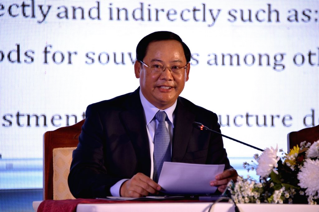 VIENTIANE, Oct. 13, 2017 - Lao Deputy Prime Minister Sonexay Siphandone speaks at a press conference on Visit Lao Year 2018 in Vientiane, Laos, on Oct. 12, 2017. Colorful festivals and events ... - Sonexay Siphandone