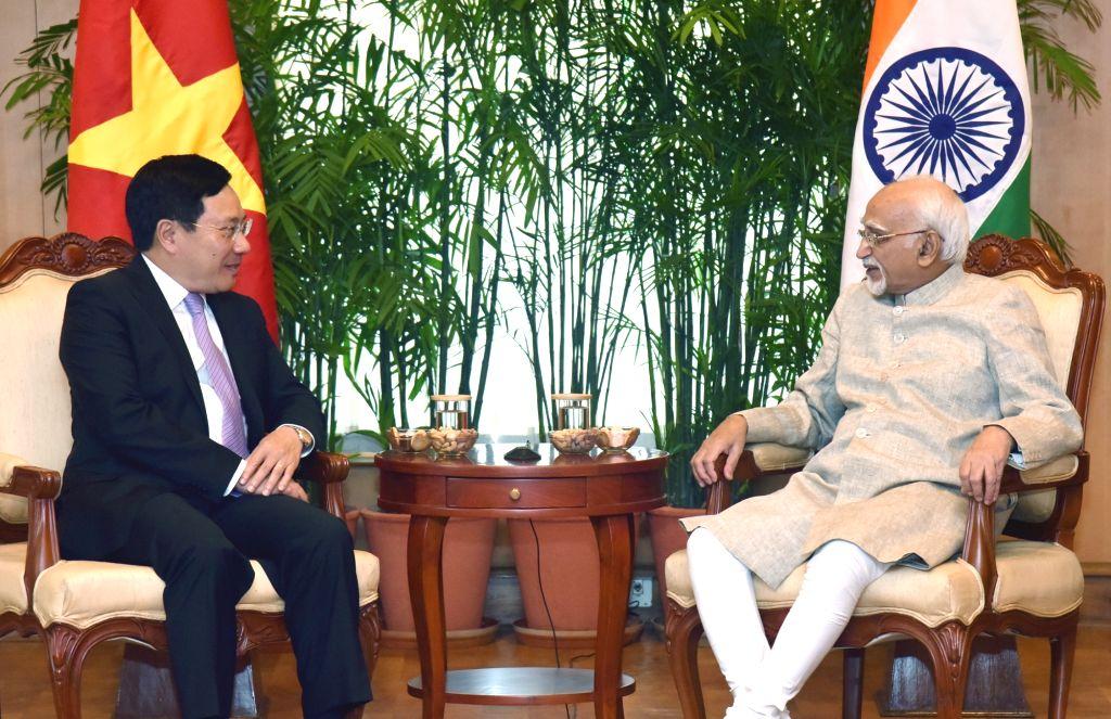 Vietnam Deputy Prime Minister Pham Binh Minh calls on Vice President M. Hamid Ansari, in New Delhi on July 4, 2017. - Pham Binh Minh