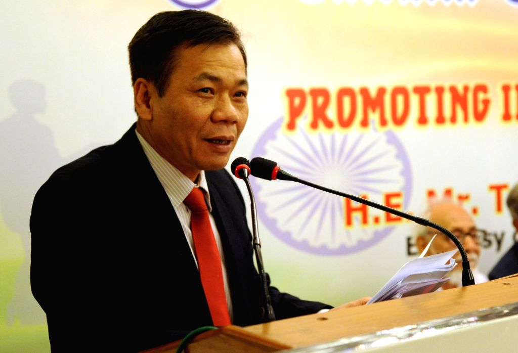 Vietnam's Ambassador to India Ton Sinh Thanh addresses during 187 years celebration Lecture Series on promoting India - Vietnam Partnership in Kolkata on April 4, 2018.