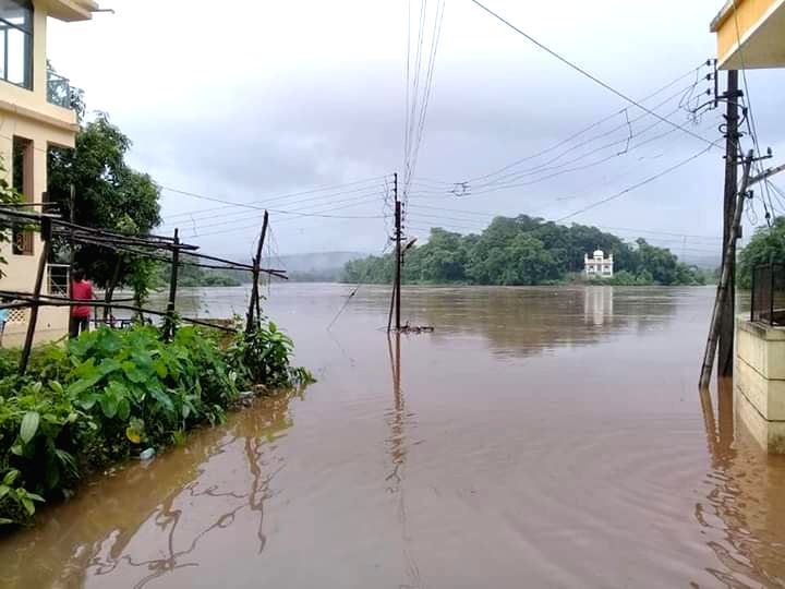 View of submerged Khed town in Ratnagiri, Maharashtra on July 27, 2019.